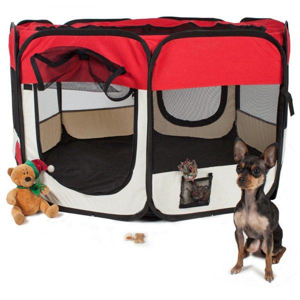 ZOOSHOP.ONLINE - Интернет-магазин зоотоваров - Манеж складной для собак, кроликов и котят, брезентовая ткань со съемным дном  - цвет красный