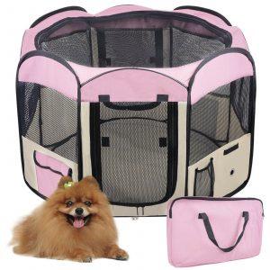 ZOOSHOP.ONLINE - Zoopreču internetveikals - Manēža saliekama suņiem, trušiem un kaķēniem, brezenta materiāls ar noņemamu grīdu - rozā krāsā
