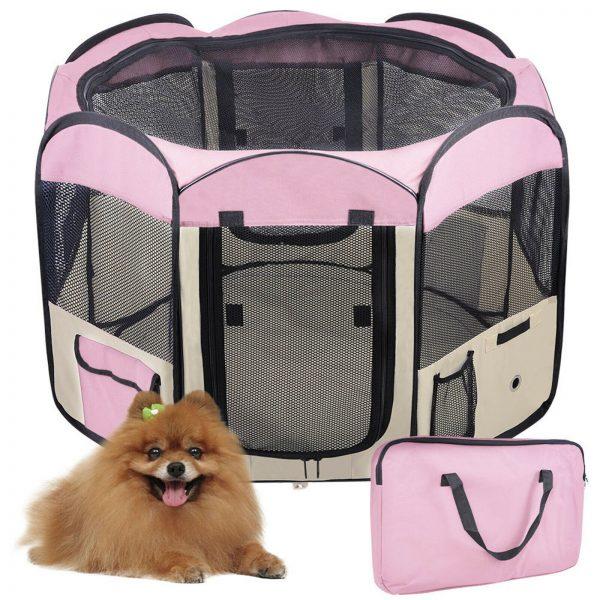 ZOOSHOP.ONLINE - Zoopreču internetveikals - Manēža saliekama suņiem, trušiem un kaķēniem, brezenta materiāls ar noņemamu grīdu - rozā krāsa