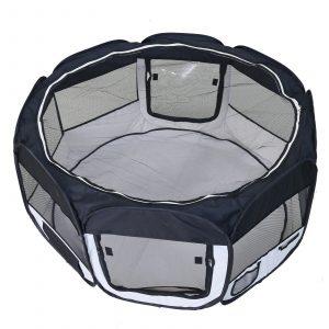 ZOOSHOP.ONLINE - Zoopreču internetveikals - Manēža saliekama suņiem, trušiem un kaķēniem, brezenta materiāls ar noņemamu grīdu - melnā krāsā