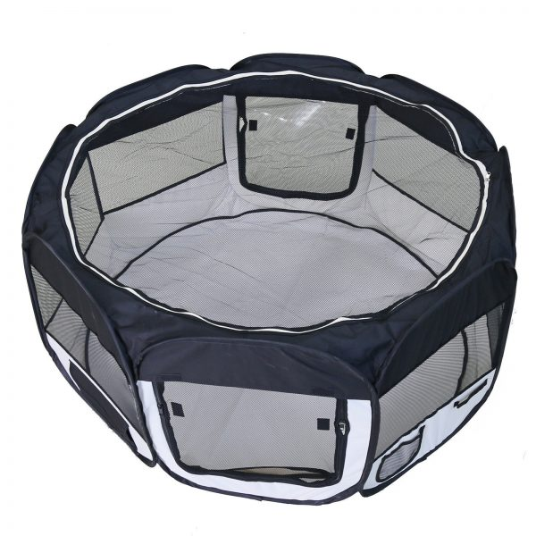 ZOOSHOP.ONLINE - Интернет-магазин зоотоваров - Манеж складной для собак, кроликов и котят, брезентовая ткань со съемным дном  - цвет чёрный