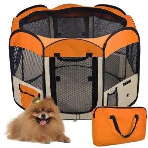 ZOOSHOP.ONLINE - Zoopreču internetveikals - Manēža saliekama suņiem, trušiem un kaķēniem, brezenta materiāls ar noņemamu grīdu - oranžā krāsā