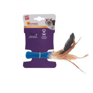 ZOOSHOP.ONLINE - Zoopreču internetveikals - Rotaļlieta kaķiem ar dabīgu putnu spalvu, zila
