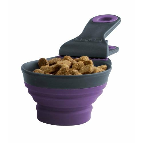 ZOOSHOP.ONLINE - Интернет-магазин зоотоваров - Силиконовая мерная чашка для измерения корма с зажимом для закрытия пакета 473ml
