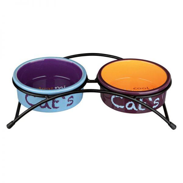 ZOOSHOP.ONLINE - Интернет-магазин зоотоваров - Trixie Набор керамических мисок для кошек на подставке