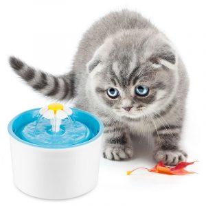 ZOOSHOP.ONLINE - Интернет-магазин зоотоваров - Питьевой фонтанчик маленький цветок бело-синий 1,6 литра