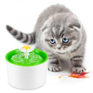 ZOOSHOP.ONLINE - Интернет-магазин зоотоваров - Питьевой фонтанчик маленький цветок бело-зеленый 1,6 литра