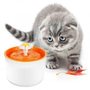 ZOOSHOP.ONLINE - Интернет-магазин зоотоваров - Питьевой фонтанчик маленький цветок бело-оранжевый 1,6 литра