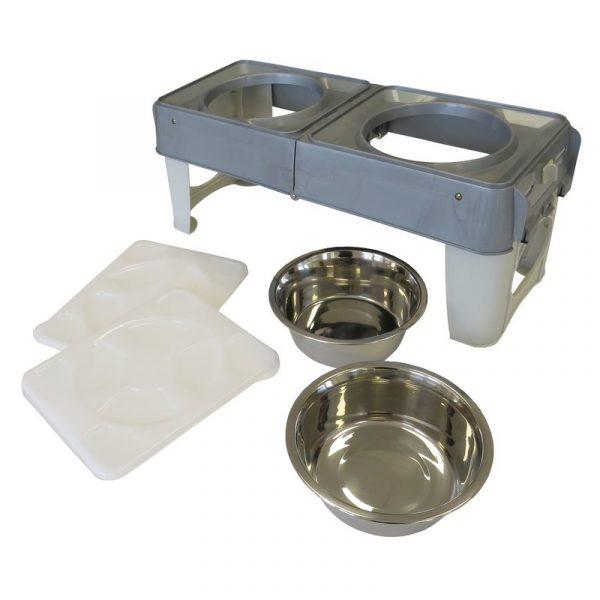ZOOSHOP.ONLINE - Zoopreču internetveikals - Saliekamas suņu barības un ūdens trauks 2 x 1500 ml