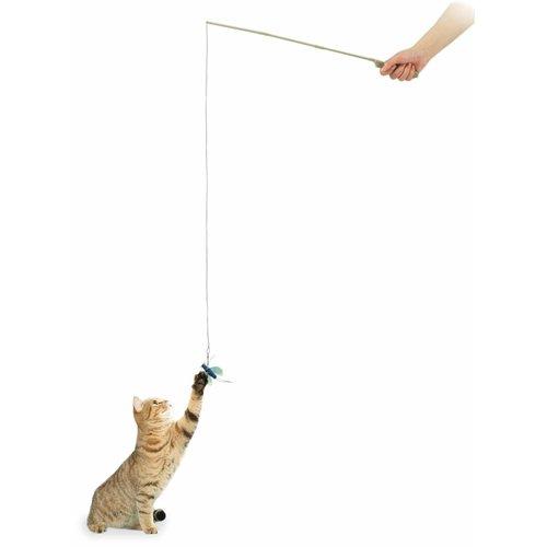 ZOOSHOP.ONLINE - Zoopreču internetveikals - Kaķu rotaļlieta, makšķere ar zilu vaboli