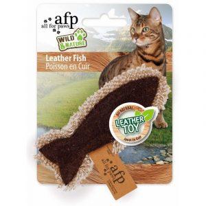 ZOOSHOP.ONLINE - Интернет-магазин зоотоваров - Натуральная игрушка для кошек из кожи и льна Рыбка