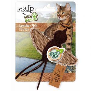 ZOOSHOP.ONLINE - Интернет-магазин зоотоваров - Натуральная игрушка для кошек из кожи и льна Птичка