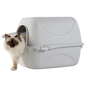 ZOOSHOP.ONLINE - Интернет-магазин зоотоваров - Туалет для кошек в стиле ротанга, белый