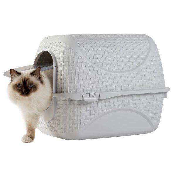 ZOOSHOP.ONLINE - Zoopreču internetveikals - Kaķu tualete rotanga stila, balta