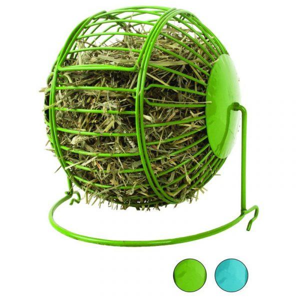 ZOOSHOP.ONLINE - Интернет-магазин зоотоваров - Стойка для сена грызунам, металлический мяч диаметр 14 см