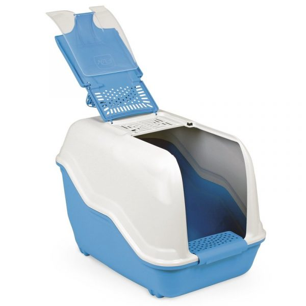 ZOOSHOP.ONLINE - Интернет-магазин зоотоваров - Туалет для крупных пород кошек, бело-синий