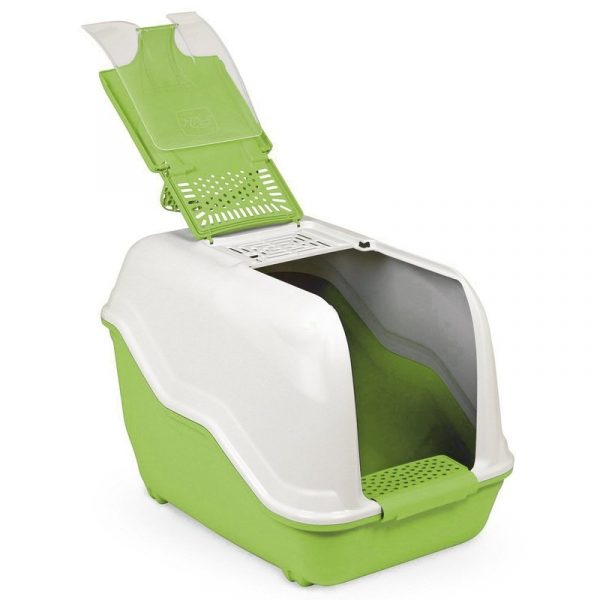 ZOOSHOP.ONLINE - Zoopreču internetveikals - Tualete lielas šķirnes kaķiem, balta-zaļa